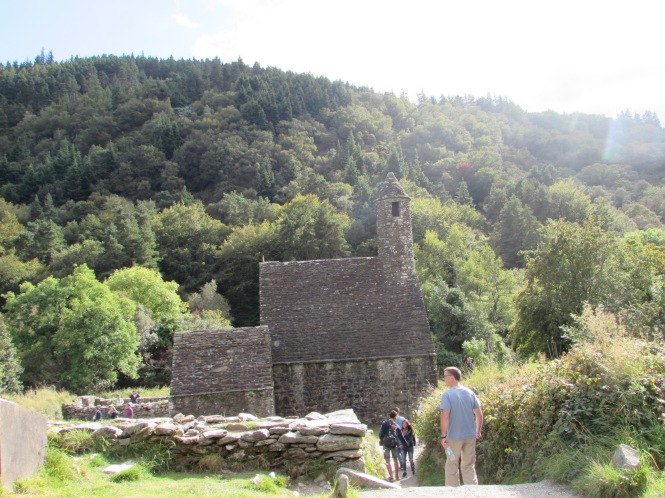 """St. Kevin's ancient church often called """"St. Kevin's Kitchen"""" due to the chimney."""